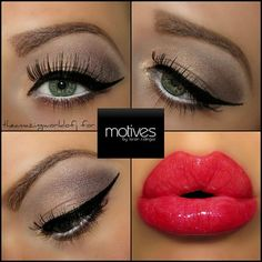Love these colors and hot red lips! Gold Look with Motives cosmetics!