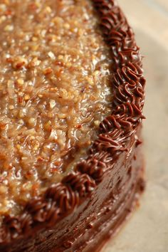 German Chocolate Cake one of my favorites. Pecans, chocolate and coconut are magical together.