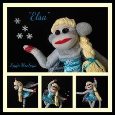 Elsa - inspired by Disney's Frozen created by Raq'n Monkeys May 2014 www.facebook.com/raqn.monkeys www.RaqnMonkeys.com  the first sock monkey in our #DisneyPrincess series