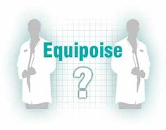 Two men standing dressed in lab coats with the text: Equipoise - and a question mark between them.