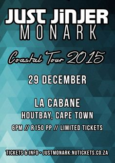 Just Jinjer & Monark Live in Hout Bay Sell Tickets, Cape Town, Live Music, Cabin