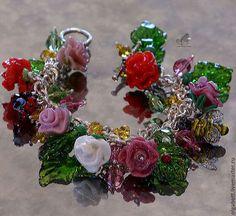 """Браслет лэмпворк """"Мой розовый сад"""" стекло, кристаллы - розы,розы ручной работы"""
