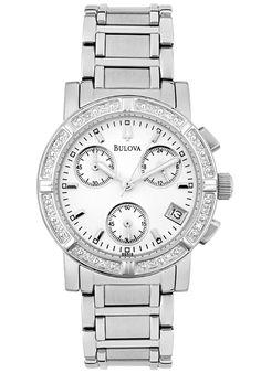 Bulova 96R19 Watches,Women's Chronograph White Diamond Stainless Steel, Chronograph Bulova Quartz Watches