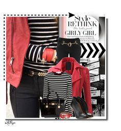 """Style Rethink: Stripes & Leather"" by kginger on Polyvore featuring Millà, Alice + Olivia, Doublju, STELLA McCARTNEY, Gianvito Rossi, Versace, Alexander McQueen and VILA"