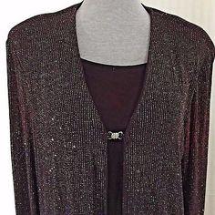 Brown Sparkle Glitter Faux 2 Piece Pullover Top w/ Crystal Closure Sz Lrg - XL