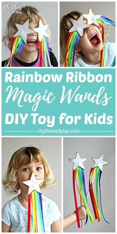 Rainbow Ribbon Magic Wand DIY Toy for Kids, DIY and Crafts, Homemade toys like these DIY magic fairy princess wands are fun for Kids! Learn how to make this no-sew felt star wand craft with rainbow ribbon strea. Craft Activities For Kids, Projects For Kids, Diy For Kids, Cool Kids, Crafts For Kids, Fun Crafts, Art Projects, Sewing Projects, Princess Wands