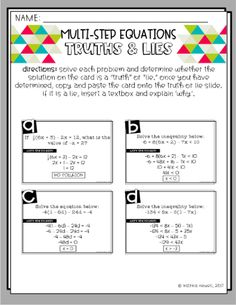 Newell's Math: Algebra Solving Equations and Inequalities… Solving multi-step equations with error analysis - New Site One Step Equations, Algebra Equations, Solving Equations, Algebra 1, Algebra Lessons, Algebra Activities, Teaching Math, Math Games, Maths