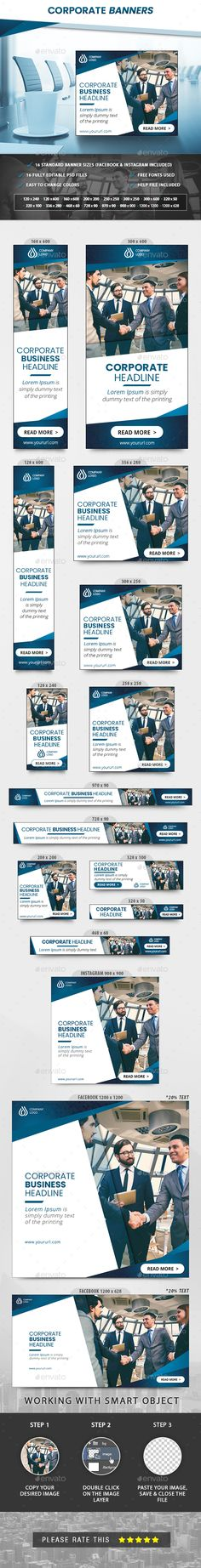 Corporate Banners - Banners & Ads Web Elements Social Networks, Social Media, Website Promotion, Online Campaign, Vector Shapes, Promote Your Business, Banner Template, Facebook Instagram, Ads