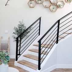 I'm blown away by all the love and excitement we got from the Staircase Makeov. Staircase Railing Design, Interior Stair Railing, Modern Stair Railing, House Staircase, Staircase Remodel, Staircase Railings, Modern Stairs, Staircase Decoration, Bannister