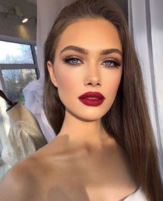 Glam Makeup Look, Red Lip Makeup, Prom Makeup, Gorgeous Makeup, Pretty Makeup, Skin Makeup, Bridal Makeup, Wedding Makeup, Red Makeup Looks