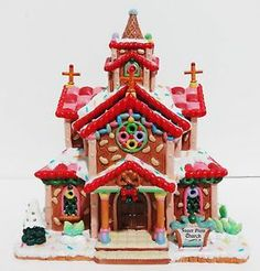 gingerbread churches in new york | ... -CHRISTMAS-SUGAR-N-SPICE-SUGAR-PLUM-CHURCH-LIGHTED-Gingerbread-HOUSE