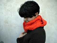 ON SALE 20  off Orange infinity scarf  hand knitted in by vumap, €38.40