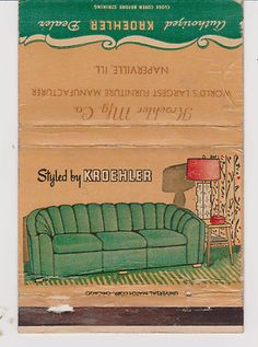 This is a unique item advertising Kroehler furniture. Matchbook size for Kroehler Mfg Co. Safety Message, Box Design, Appliance, Vintage Advertisements, Old And New, Cover Art, Vintage Designs, Book Covers, Advertising