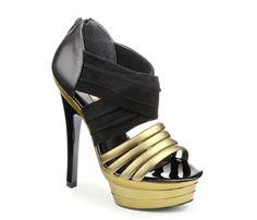 Zapatos negros y dorados con plataforma - Buffalo