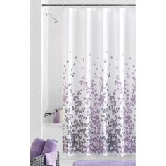 Sylvia Fabric Shower Curtain | I think it's meant to be! Add a little graphic leaf inspired design on a beautiful, soft, white fabric. Soft purple and grey.
