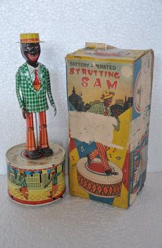 Rare Vintage Boxed Battery Strutting SAM Litho Tin Toy , Japan