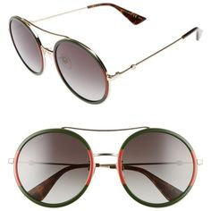 Women's Gucci 56Mm Round Sunglasses ($400) ❤ liked on Polyvore featuring accessories, eyewear, sunglasses, retro round sunglasses, round circle sunglasses, gucci glasses, circle lens sunglasses and circular glasses