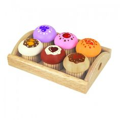 This food play set includes six different colourful muffins arranged on a tray.