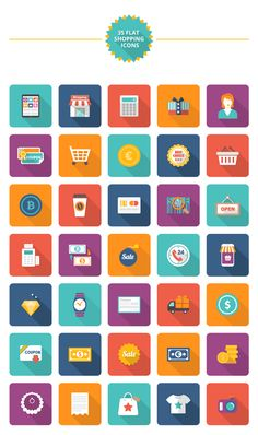 Free Download : 35 Flat Shopping Icons #icons #Flaticon #Webdesign