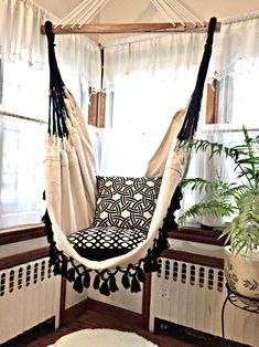 Hammock chair black fringe 6 feet long white chair hanging chair cotton hamm - All About Balcony Hammock Chair Stand, Diy Hammock, Swinging Chair, Swing Chairs, Bedroom Hammock, Hammocks, Indoor Hammock, Hammock Swing, Lounge Chairs