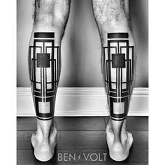 calf geometrical tattoos