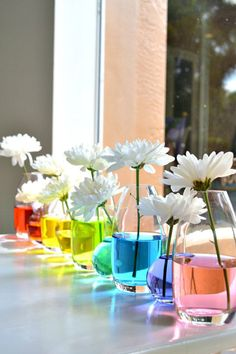 Instead of choosing colorful flowers, try placing a white variety like mums or daisies in vases with colored water.  Get the tutorial at Papery & Cakery.