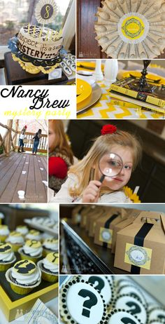 Nancy Drew mystery birthday party with @double the fun parties - love all the black and yellow! Perfect for back to school too!