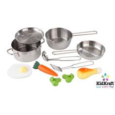 Our Kidkraft Metal Accessories Set makes a great addition to kids play kitchens. The Kidkraft Metal Accessories Set consists of metal pans, pot, spatula and ladle. Also comes with play food - broccoli, chicken leg, carrot and egg.