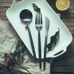Spoon Knife, Knife And Fork, Portugal, Stainless Steel, Store, Tableware, Black, Design, Dinnerware