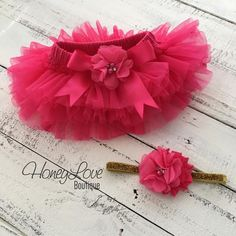 Watermelon Hot Pink tutu skirt bloomers diaper cover, embellished rhinestone pearl flower satin bow, matching gold glitter headband bow, ruffles all around, newborn infant toddler little baby girl photo shoot prop birthday bottoms by HoneyLove Boutique