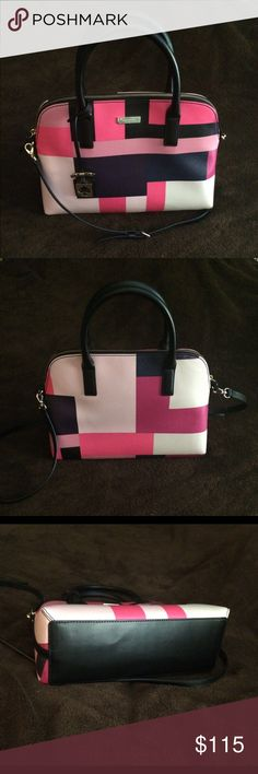 ❗️SALE❗️Kate Spade Grant St. Small Rachelle NWOT Kate Spade Small Rachelle NWOT. Color-block pattern. Pink, purple, navy and black. Great condition. Comes with crossbody strap. Open to offers! No trades. kate spade Bags Crossbody Bags
