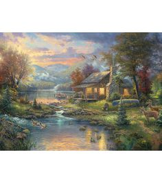 These beautiful kits depict the artwork of Thomas Kinkade, painter of light. This kit contains:16-count ivory cotton Aida cloth Pre- sorted 100% cotton floss Decorative thread Needle Chart Easy-to-fol