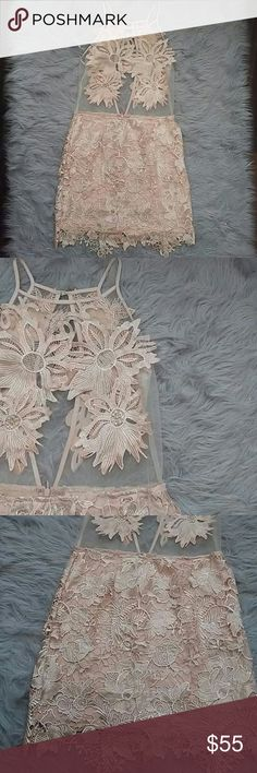 """Floral mesh dress Size: M, 34"""" from top Color: peachy beige Condition: brand new! No holes No stains Non Smoking home Pet free home Style Tags: kim k, fashion nova, mesh, high neck  Fyi: if anything has obvious or noticeable stain, holes,discoloration, piling, etc it will be noted in the listing. Please be patient with questions as we all live in different time zones etc. I do trade. I do not provide any of my personal contact info. I will sometimes model my clothing. I've been on Posh for a…"""