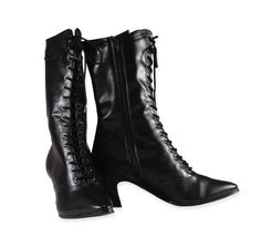Victorian Boot - Black Faux Leather. $45. These have a zipper running up the inside, which might be a plus for some wearers, a minus for others.