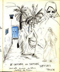 Art of Evrard de Caqueray: Tunisie, carnet de voyage Art Arabe, African Union, Artist Journal, Arabic Art, North Africa, Art Inspo, Art History, Watercolor Art, Art Drawings