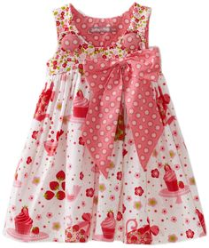 Jelly The Pug Baby Girls' Cake Puffy Dress, White/Pink, 18 Months