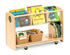 communityplaythings.com - F777 Book Cart The wheels are on a board that can be flipped up for use or down so it stands solid... cool!