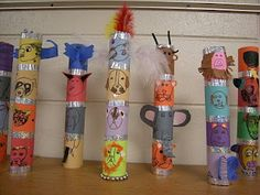 Totem Poles - how clever - can use tp rolls and tape together for totem poles
