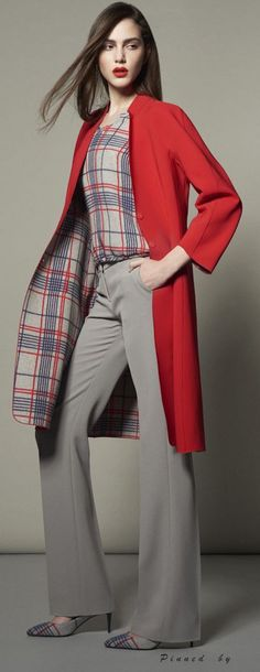 Armani: plaid shirt, same as the coat lining & shoes, wide pants.