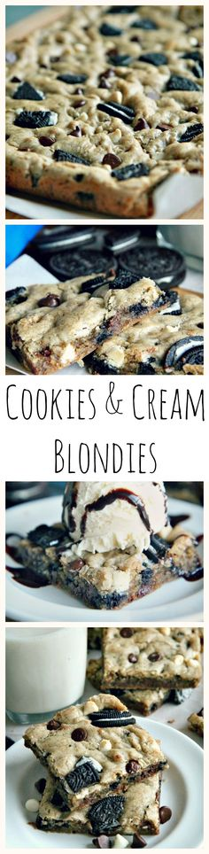 Soft, chewy #homemade #Oreo #blondies loaded with oreos, semi-sweet and white #chocolate chips, topped with #vanilla ice cream and drizzled with chocolate syrup!