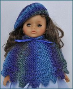 "Mochi Plus 18"" Doll Poncho & Beret,  American Girl, Madame Alexander, dolls, free doll knitting pattern,  Crystal Palace Yarns"
