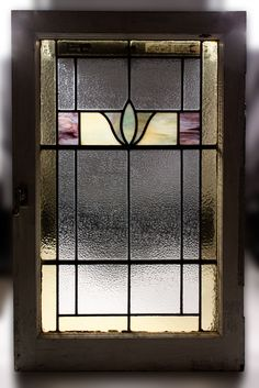 Fabulous Antique American Stained Glass Window, Art Deco The window measures…