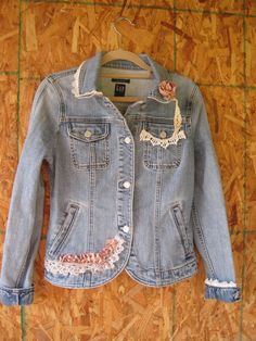 $32.90 Boho denim jacket jeans jacket lace denim blazer small Upcycled jeans jacket lace trim faded Gap xsmall small Ready to ship