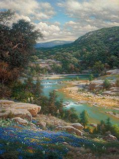 7fdc9b802d5 Cliffs of the Nueces Art Prints by Larry Dyke Artist. This is a springtime  scene