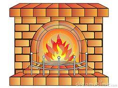 Vector Illustration of a Cartoon Fireplace.