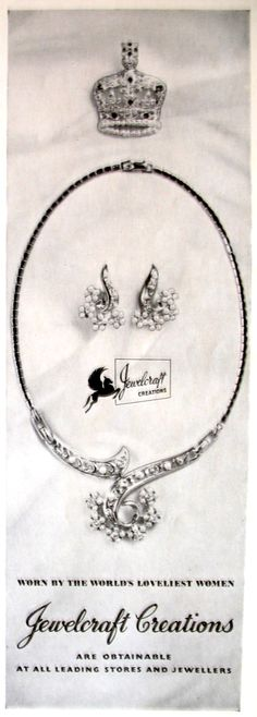 "Coro ad 1953 ""Jewelcraft"". I don't know if the pieces were marked Jewelcraft or Coro."