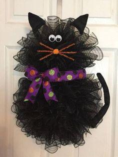 22 x 17 Halloween Deco Mesh Black Cat Wreath with