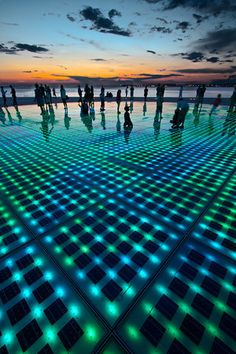 ZADAR is where the MIKULICH'S are from! The Sun Salutation, Zadar, Croatia. The photovoltaic cells charge all day and at sunset put on a fantastic light show Oh The Places You'll Go, Places To Travel, Places To Visit, Dubrovnik, Beautiful World, Beautiful Places, Croatia Travel, Italy Travel, Slovenia