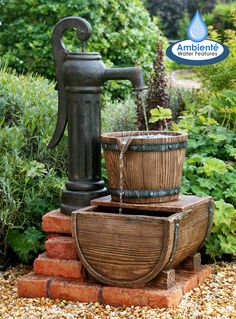 Pump and Barrel Water Feature with LED Lights Small Water Features, Outdoor Water Features, Water Features In The Garden, Old Water Pumps, Water Feature Pumps, Home Fountain, Garden Fountains, Water Fountains, Diy Solar