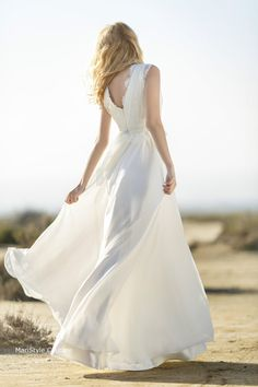 Bohemian Wedding gown from Chiffon, French lace , Boho style dress, Romantic and Dreamy Wedding Dress